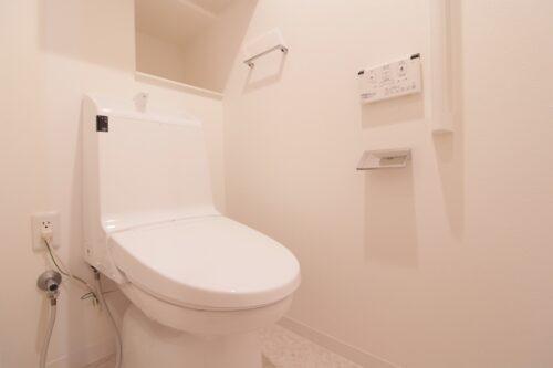 洗浄機能付きトイレです。現地(2021年7月)撮影