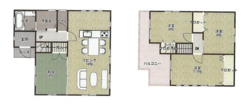 建築プラン参考間取り図です。4LDK、延床面積91.93㎡、建物価格1529万円