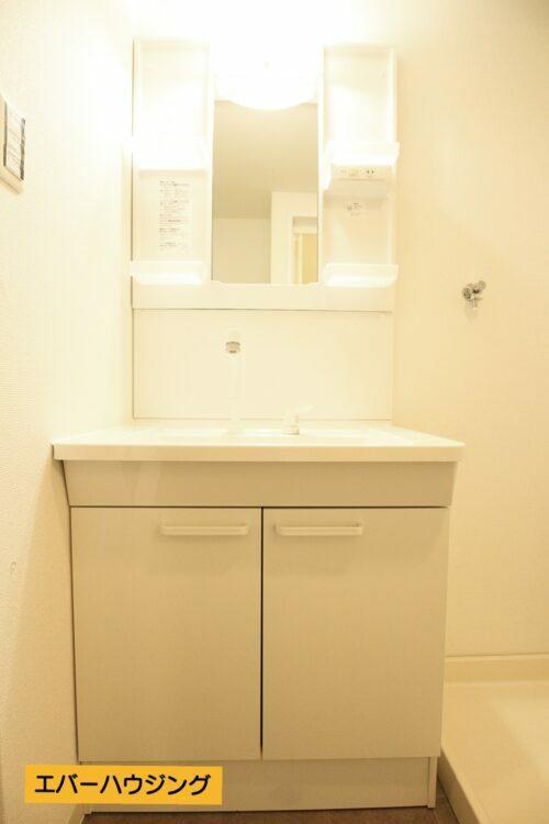 リフォームにて新調済みの洗面台。 収納たっぷり。シャワー付き洗面台です。