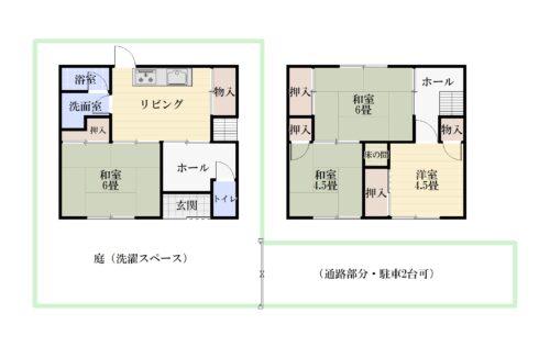 土地面積:80.32㎡(24.29坪) 建物面積:69.20㎡ 4DKの間取りです。