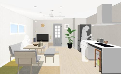 建物プラン例:リビング12帖のお部屋イメージです。 建物価格:1280万円、建物面積:62.73㎡