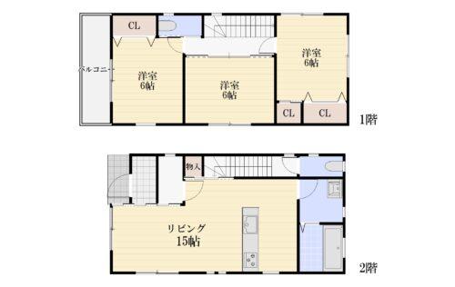 土地面積:78.95㎡ 建物面積:79.38㎡