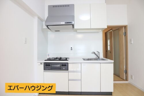 使いやすいシステムキッチンです。ナチュラルな内装に7ぴったりなホワイトカラーのキッチンです。