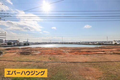 南側のバルコニーからの眺望です。 前は空地と池があり、開放的です。