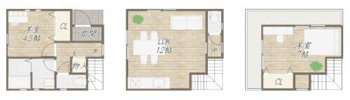 建物プラン例です。3階建て車庫なし。 建物価格:1280万円、建物面積:62.73㎡㎡