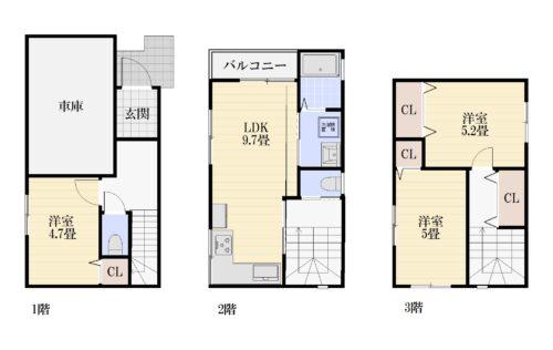 延床面積:80.79㎡ 木造ストレート葺 3LDKの3階建てです。