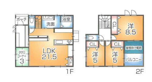 4LDKのお部屋です。 1階:57.13㎡ 2階:44.71㎡ 延床:101.84㎡