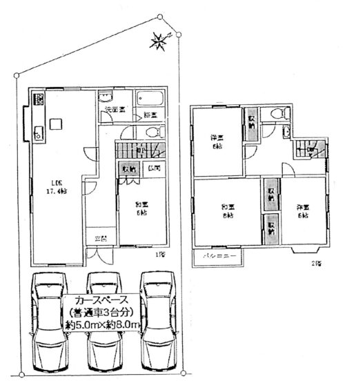 土地面積:156.05㎡ 建物面積:111.78㎡(33.81坪) 駐車スペース3台