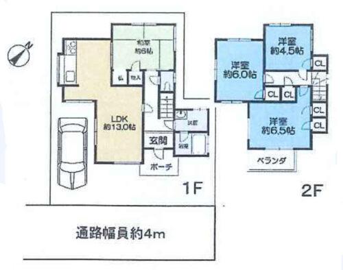 駐車1台可能です。4LDK和室付き。