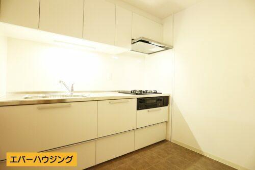 システムキッチンはリフォームで新調済み!お部屋に馴染むホワイトカラーのキッチンです。