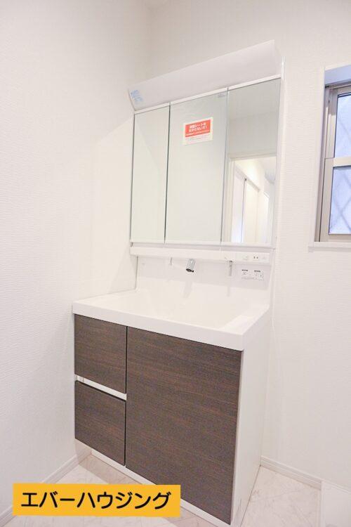 シャワー付きの洗面化粧台です。 三面鏡タイプです。