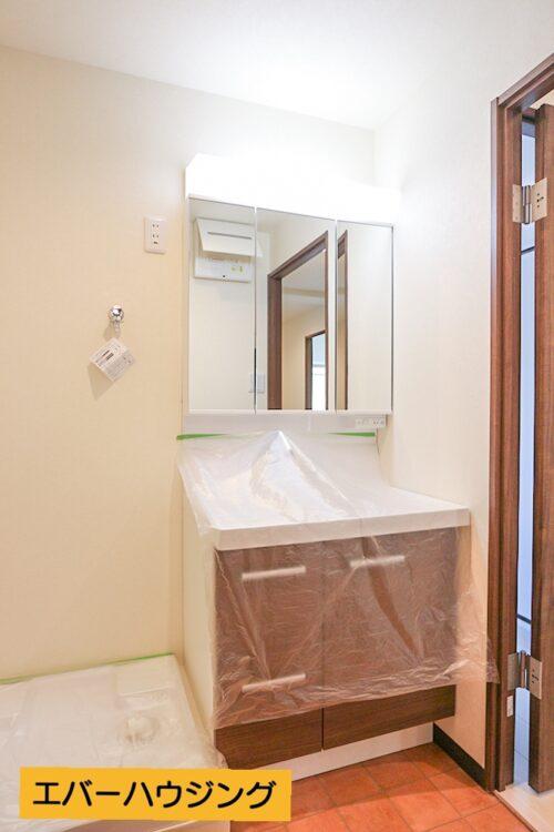 シャワー付きの洗面化粧台、洗濯パン新調済みです。
