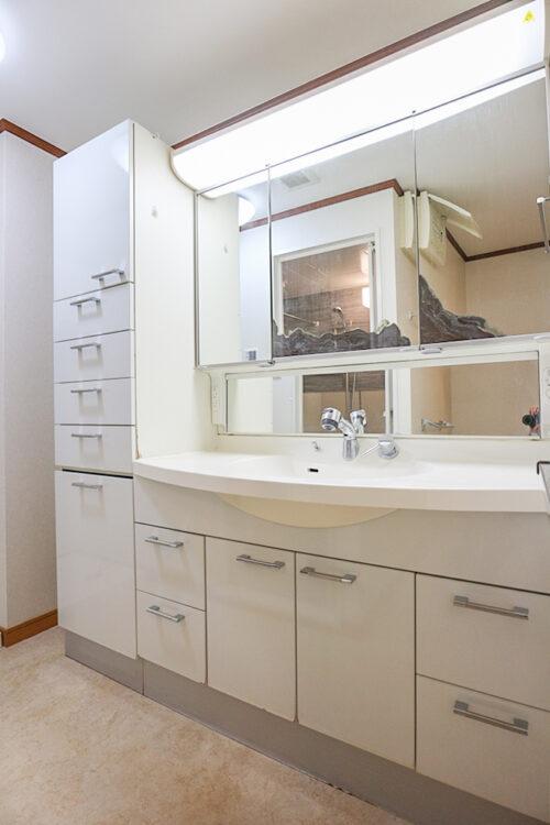 洗面台も大きく、収納もたっぷりございます。