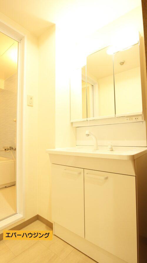 女性に嬉しい三面鏡のシャワー付き洗面台。