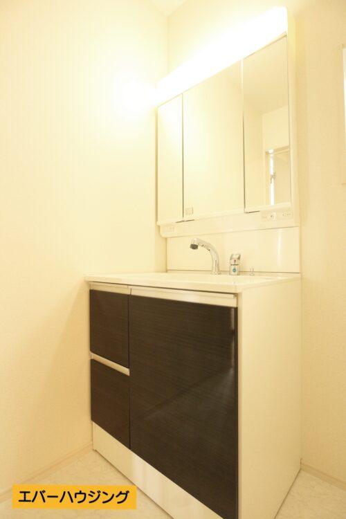 女性に嬉しい三面鏡の独立洗面化粧台です。