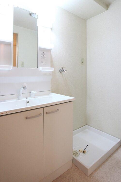 洗面台はリフォームにて新調済みです。 シャワー付き洗面化粧台です。