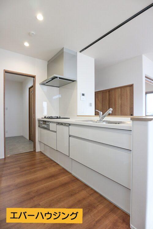対面式のシステムキッチン。食洗機付きです。リビングからも、洗面台からも行き来できる2WAYキッチンです。