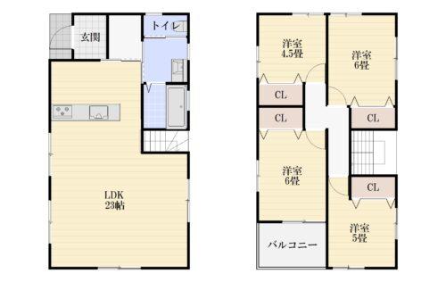 プラン間取りです。建物参考価格1780万円、参考建物面積:104.3㎡