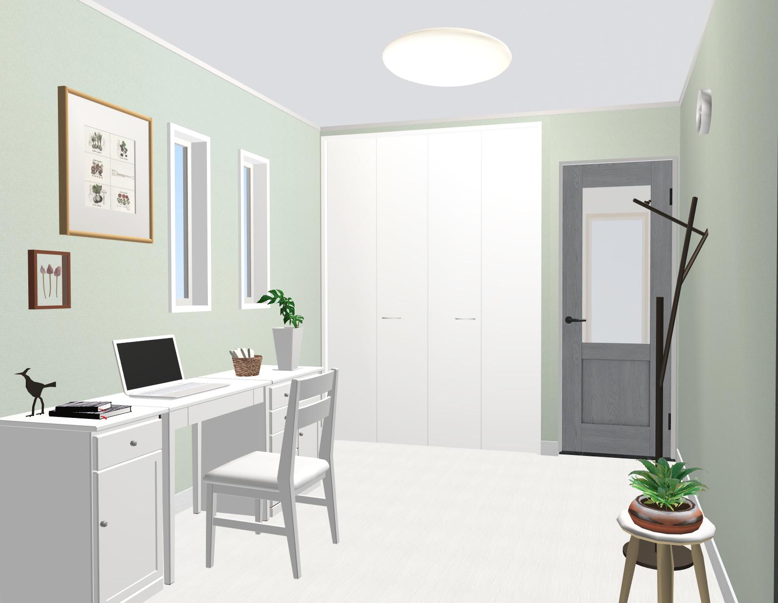 建物プラン例:1階の洋室4.5帖です。 クローゼット収納付き。 建物価格:1280万円、建物面積:62.73㎡