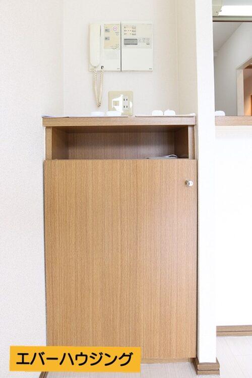 インターホンと、便利な収納棚付き。